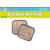 48 Units of Set of 2 Bamboo Hot Pads Trivets - Oven Mits & Pot Holders
