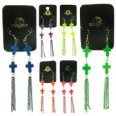 36 Units of ASSORTED COLORED CROSS DANGLES - Earrings