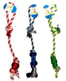 24 Units of Dog Puppy Pet Braided Bone Rope with Rubber Chew Knot Toy - Pet Toys
