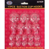 24 Units of Wholesale 17 Pieces Suction Cup Hooks