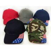 24 Units of Wholesale Adjustable Baseball Hat American Flag On Bill Assorted