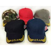 24 Units of Wholesale Adjustable Baseball Hat USA with Flag Assorted Colors