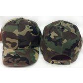 24 Units of Wholesale Adjustable Baseball Hat Plain Army Camo