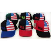 24 Units of Wholesale Adjustable Baseball Hat USA with Printed Flag Assorted