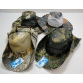 24 Units of Wholesale Hardwood Camo Mesh Boonie Hat Assorted