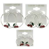 36 Units of Silver-tone lever catch hoop with cherry cluster on it - Earrings