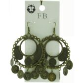 36 Units of Coin dangle Antique brass look Earrings - Earrings