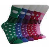 360 Units of Women's Stripes & Dots Crew Socks - Womens Crew Sock