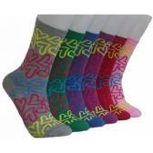 360 Units of Women's Neon Hearts Crew Socks - Womens Crew Sock