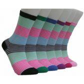 360 Units of Women's Summer Stripes Crew Socks - Womens Crew Sock