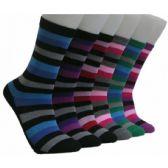 360 Units of Women's Dark Stripes Crew Socks - Womens Crew Sock