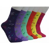 360 Units of Women's Music Notes Crew Socks
