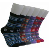 360 Units of Women's Stripes and Snowflakes Crew Socks