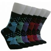 360 Units of Women's Mixed Patterned Crew Socks