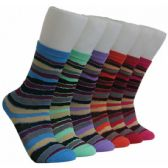 360 Units of Women's Colorful Stripes Crew Socks