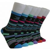 360 Units of Women's Striped Crew Socks - Womens Crew Sock
