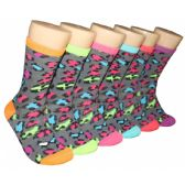 360 Units of Women's Party Animal Print Crew Socks