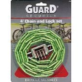 24 Units of Wholesale Heavy Duty 4 ft Chain and Combination Lock
