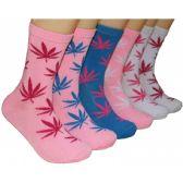 360 Units of Women's Marijuana Crew Socks - Womens Crew Sock