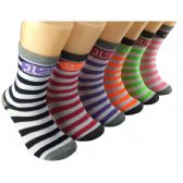 360 Units of Women's Colorful Striped Crew Socks