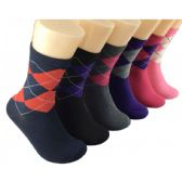 360 Units of Women's Classic Argyle Crew Socks