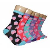 360 Units of Women's Birthday Cake Crew Socks