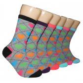 360 Units of Women's Rainbow Hearts Crew Socks