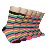 360 Units of Women's Rainbow Stripe Crew Socks