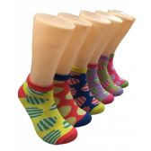 480 Units of Women's Bright Patterned Low Cut Ankle Socks
