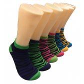480 Units of Women's Colorful Zebra Low Cut Ankle Socks