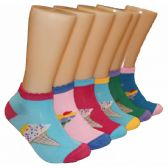 480 Units of Women's Ice Cream Cone Low Cut Ankle Socks