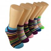 480 Units of Women's Candy Stripes Low Cut Ankle Socks