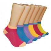 480 Units of Women's Color Contrast Low Cut Ankle Socks