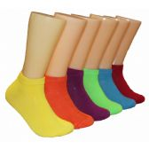 480 Units of Women's Bright Color Solid Low Cut Ankle Socks