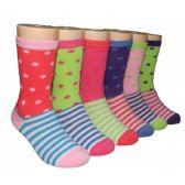 480 Units of Girls Polka Dot and Stripe Crew Socks - Girls Crew Socks