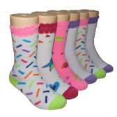 480 Units of Girls Assorted Print Crew Socks