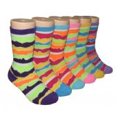 480 Units of Girls Colorful Waves Print Crew Socks