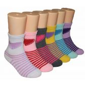 480 Units of Girls Hearts and Stripes Crew Socks
