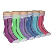 480 Units of Girls Sneaker Print Crew Socks