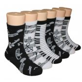 480 Units of Girls Musical Print Crew Socks