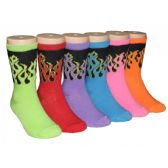 480 Units of Girls Bright Flames Printed Crew Socks - Girls Crew Socks