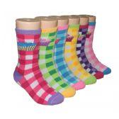 480 Units of Girls Cupcakes Printed Plaid Crew Socks