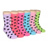 480 Units of Girls Polka Dot Crew Socks - Girls Crew Socks