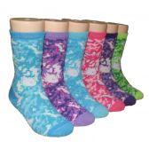 480 Units of Girls Camo Print Crew Socks