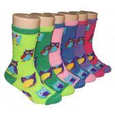 480 Units of Girls Owl Print Crew Socks