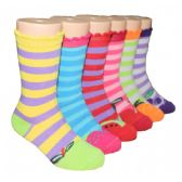 480 Units of Girls Fruit Stripe Crew Socks - Girls Crew Socks