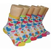 480 Units of Girls Colorful Hearts Crew Socks