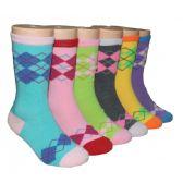 480 Units of Girls Argyle Crew Socks