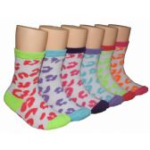 480 Units of Girls Leopard Spots Crew Socks
