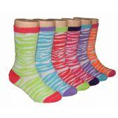 480 Units of Girls Zebra Stripes Crew Socks